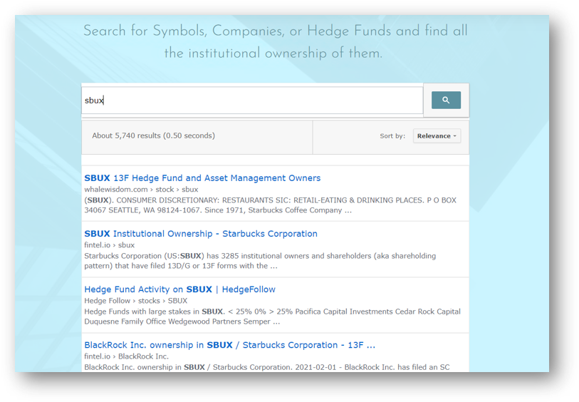 Hedge Funds & Institutional Holdings Finder