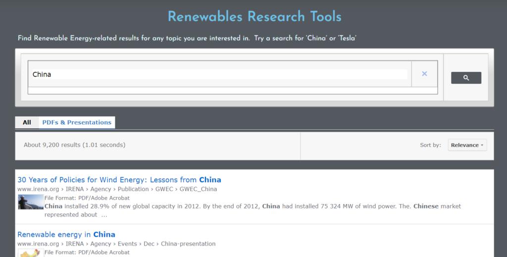 Renewable Energy Search Engine